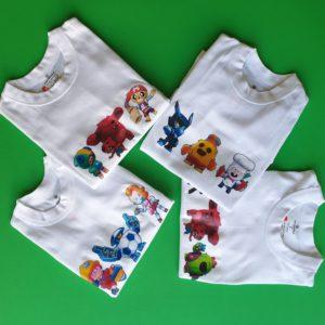 Призы квеста Brawl Stars - футболки с принтами героев