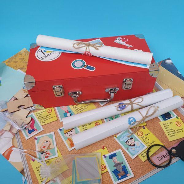 Коробка и реквизит к квесту-детективу